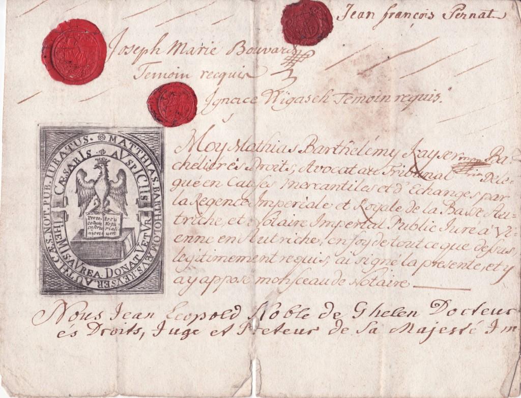 Contrat notarié de la fondation Pernat